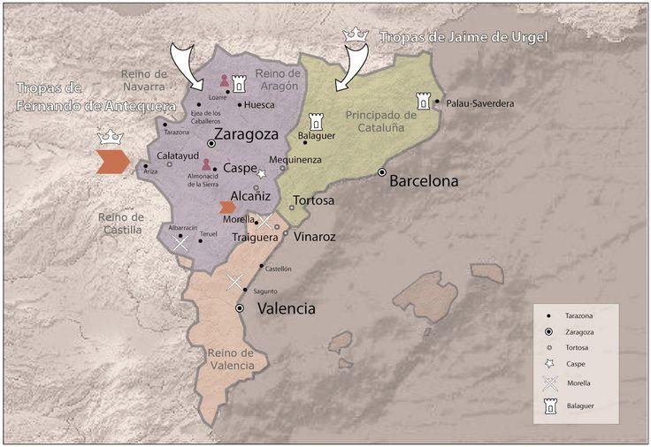 Mapa histórico sobre el Compromiso de Caspe en la Corona de Aragón. Siglo XV.