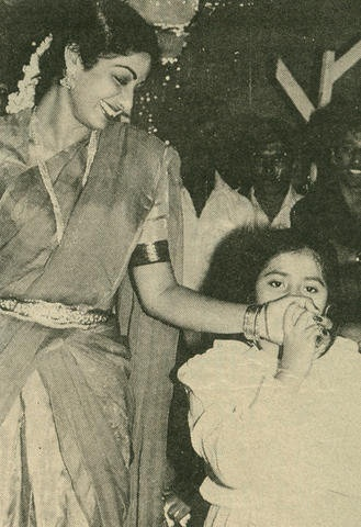 Sri with young Ekta kapoor :    Ekta famously told a magazine editor that once, someone in her school bitched up to her and said, 'So your father's having an affair with Sridevi!' Ekta Kapoor, a legendary spitfire, shot back, 'Yeah, my father is. Your father can only dream about it.'