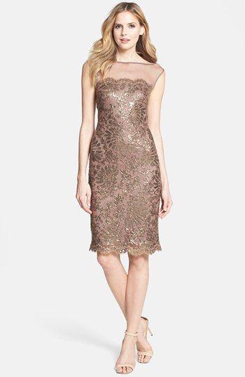 Tadashi Shoji Illusion Yoke Embellished Lace Sheath Dress available at #Nordstrom
