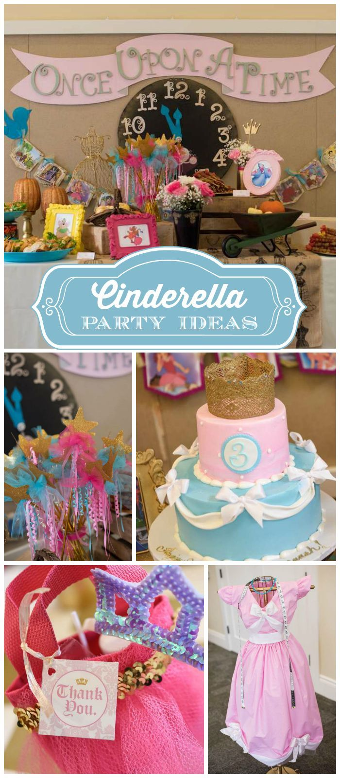 A Cinderella girl birthday party with the rustic side and the glam with glitter and gold! See more party planning ideas at CatchMyParty.com!