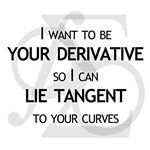 If the graph of a function's derivative is tangent to the original function, I want to be your derivative.  I want to be your derivative so I can lie tangent to your curves is a great math geek t shirt.