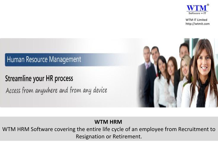 Introduction of WTM HRM (Human Resource management) Software and its feature  Published on Jul 24, 2014  WTM HRM Software covering the entire life cycle of an employee from Recruitment to Resignation or Retirement. WTM HRM is a Human Resource Management Software providing a comprehensive, effective, and efficient way to manage and develop Employees the most valuable asset in an organization. WTM HRM software covering the entire life cycle of an employee from Recruitment to Resignation or ...