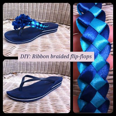 Braided ribbon on flip-flops! https://www.retailpackaging.com/categories/74-everyday-specialty-ribbon/products/3096-splendorette-rib-bow #DIY #crafts #ribbon