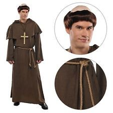 Mens Friar Tuck Robin Hood Monk Priest Fancy Dress Costume + Wig Religious Party