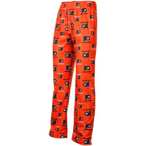 Philadelphia Flyers Youth NHL Logo Pajama Pants  https://allstarsportsfan.com/product/philadelphia-flyers-youth-nhl-logo-pajama-pants/  100% polyester Elastic waistband Made by Outerstuff