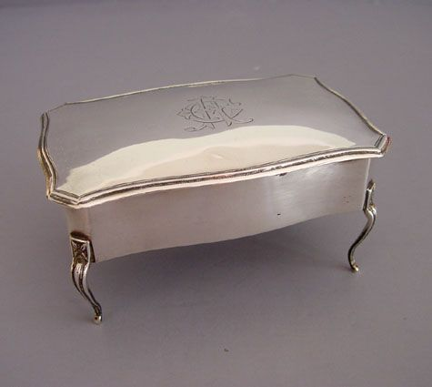 Edwardian sterling silver jewelry box vintage jewelry for Jewelry box with initials