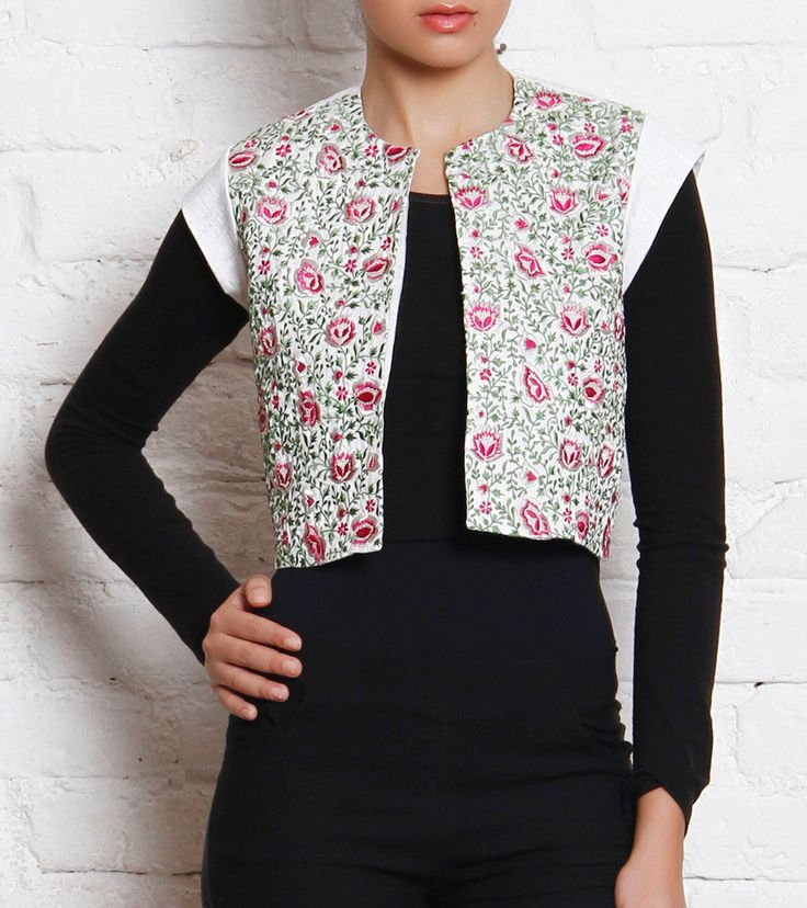 White Embroidered #Silk Blend #Jacket by #Tannishtha at #Indianroots