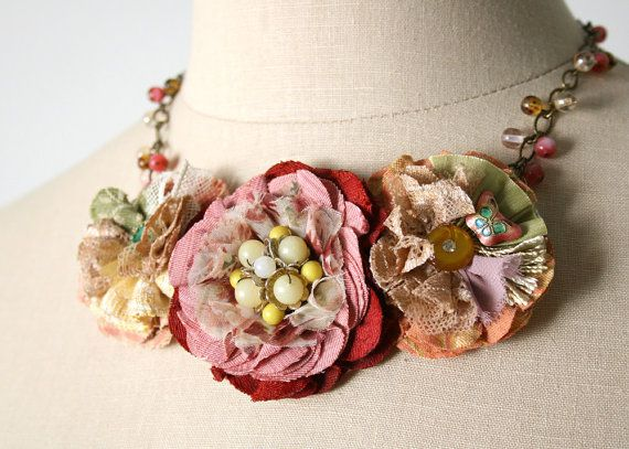 Statement Necklace, Colorful Fabric Flower Necklace, Textile Necklace, Gift for Her