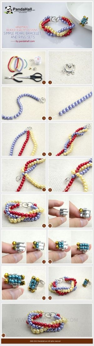 Handmade beaded jewelry designs-simple pearl bracelet and ring set from pandahall.com by HellenK