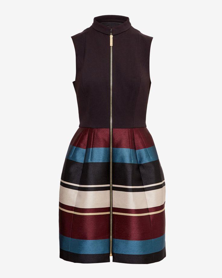 Antique Stripe zip front dress - Black | Dresses | Ted Baker UK