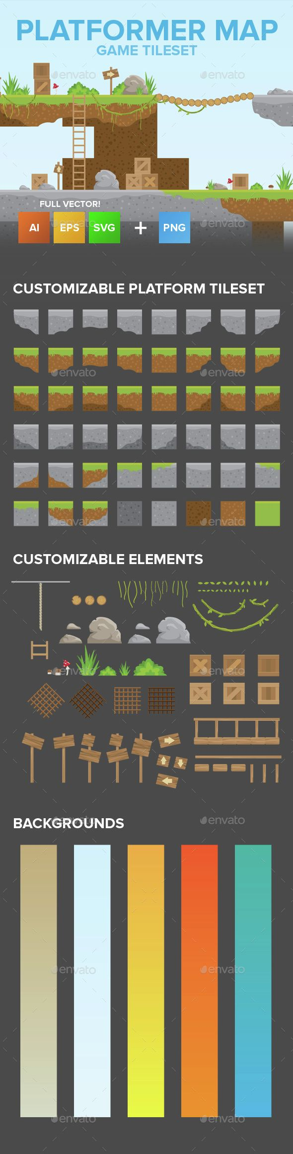 2D Game Platformer Tilesets — Vector EPS #tileable #modern • Available here → https://graphicriver.net/item/2d-game-platformer-tilesets/15147637?ref=pxcr