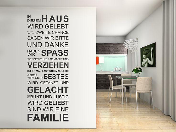 In diesem Haus wird gelebt - Wandtattoo zwischen Wohnzimmer und Esszimmer