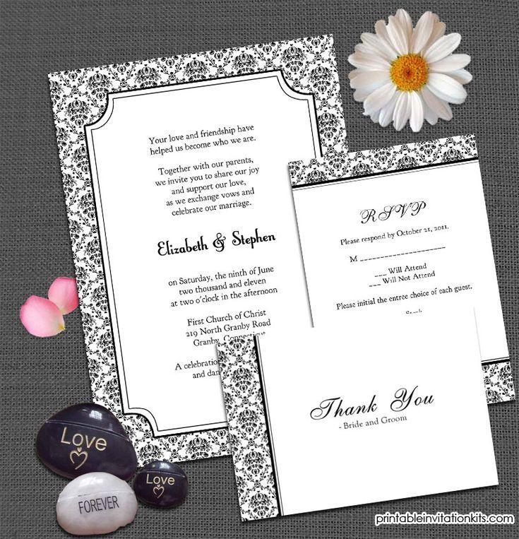 Vintage damask background invitation set invite rsvp for Damask wedding invitations template free