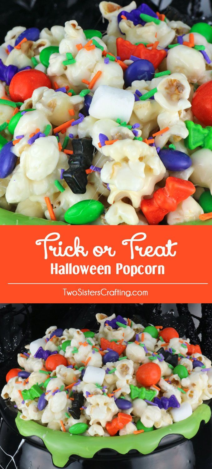 Trick or Treat Halloween Popcorn is a yummy and colorful Halloween Dessert that…
