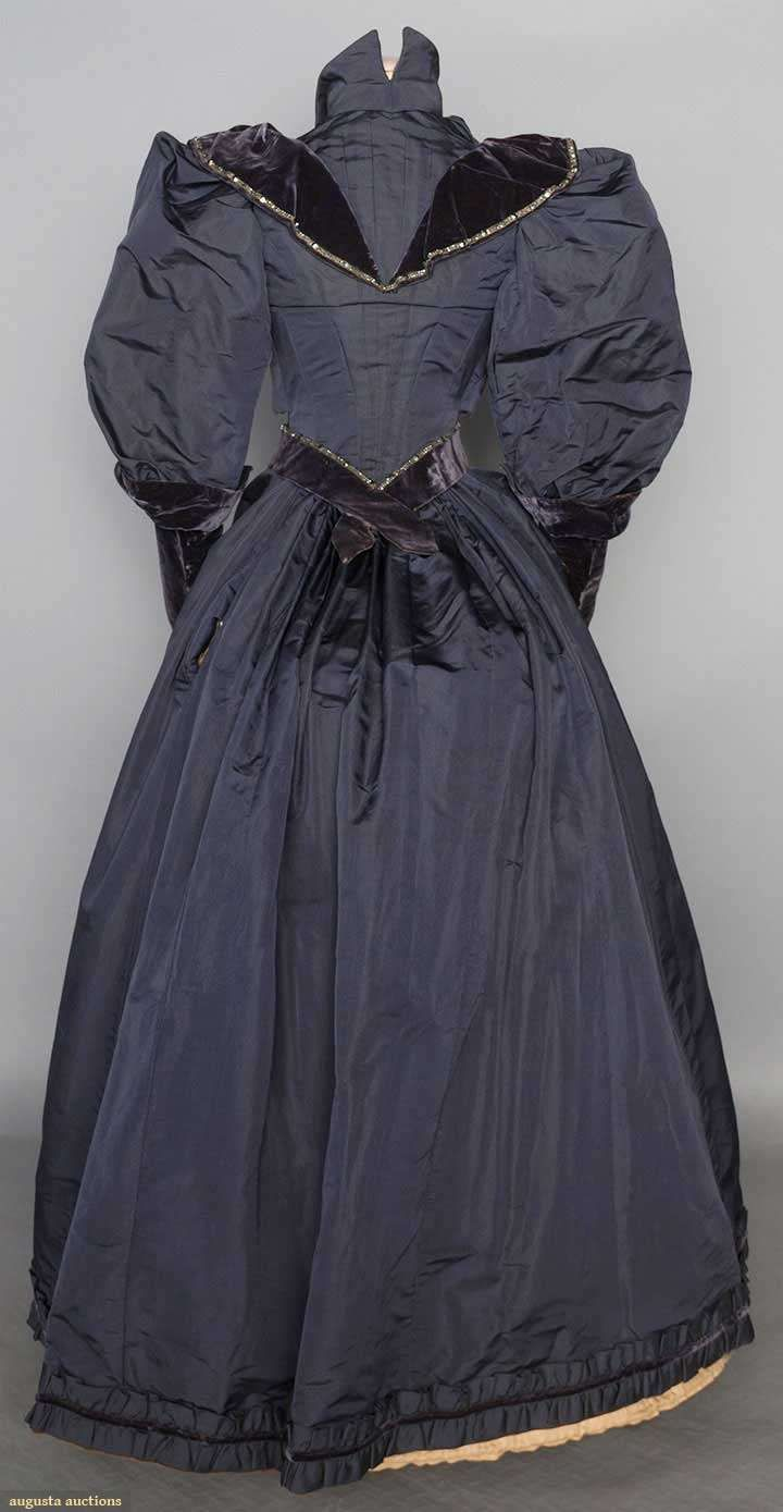Blue gray dress, 2-piece silk faille, bodice w/ carnival glass bead trim on velvet, leg 'o mutton long sleeves, printed cotton sateen lining, skirt w/ ruched faille hem band & velvet cord, cotton lining, 1895