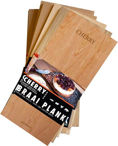 CHERRY - Mild and fruity. Good with poultry, pork and beef.  Infuse Food With More Flavor Using Braai Planks  Cherry grilling planks make a very nice presentation. They are sanded smooth and Lazer engraved branded with the Geobasket logo. Many people choose to give these as gifts and even use them as display items because they are beautiful in addition to making delicious grilled foods.