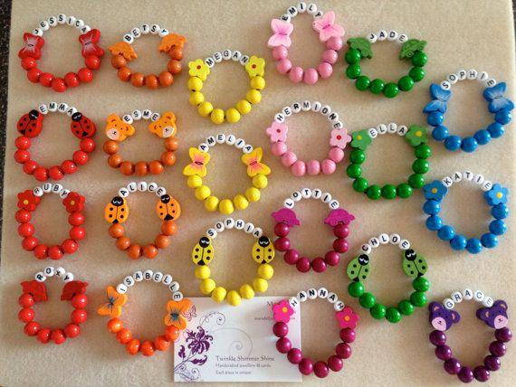 Personalised wooden children's bracelets, elasticated bracelet, birthday gift, children's jewellery, children's bracelet, beaded bracelet