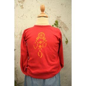 Drømmefanger, rød bluse, upcyclet genbrug, str. 116