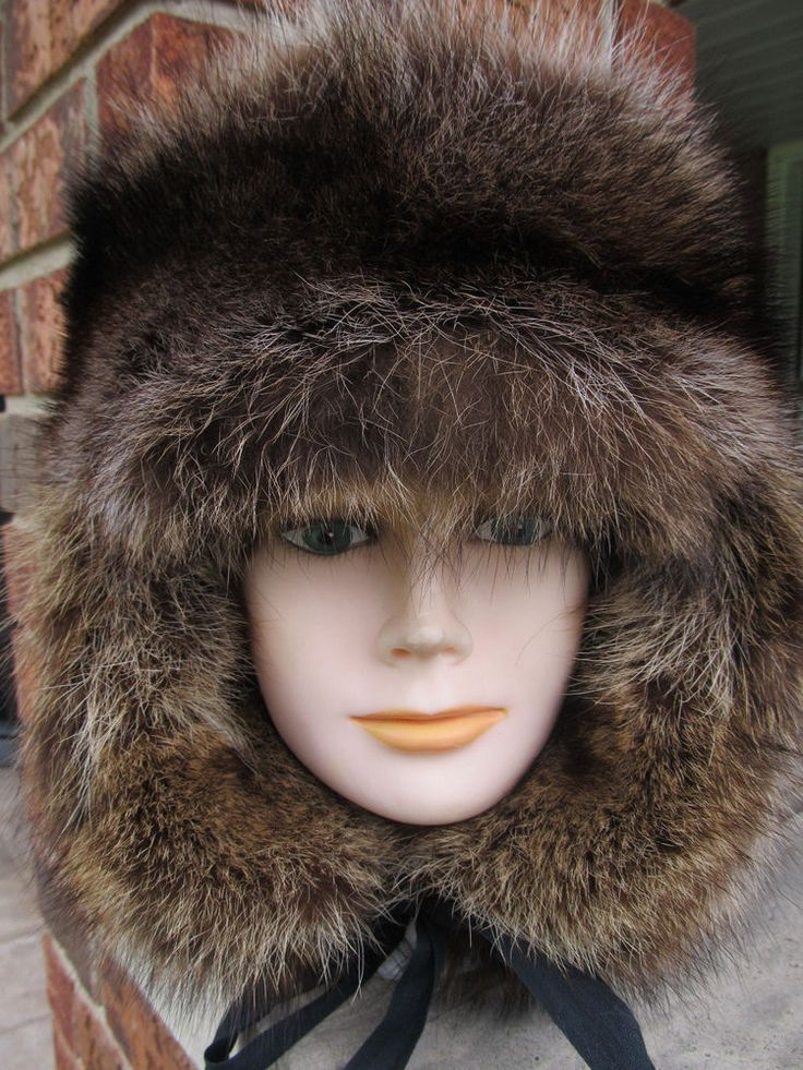 Mens silver raccoon fur ear flap hat all fur inside and out mountain man style #HomeMade