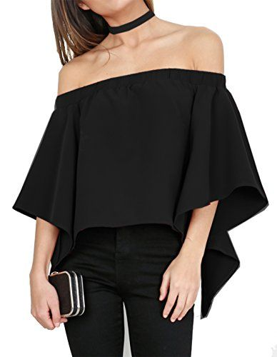 Relipop Womens Off Shoulder Tops Fashion Shirt Casual Strapless Blouses XLarge Black -- Click image for more details.Note:It is affiliate link to Amazon.