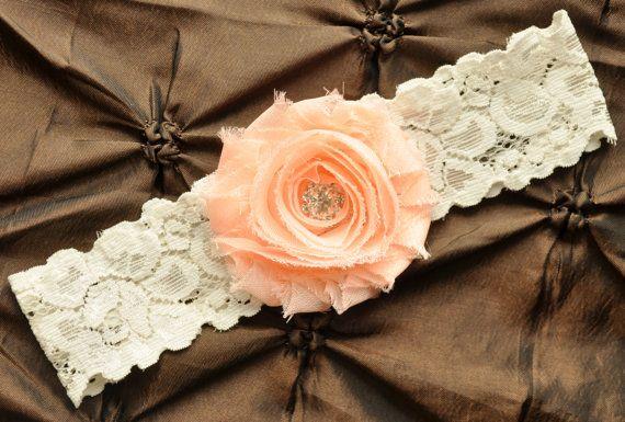 Wedding Garter, Bridal Garter - Ivory Lace Garter, Toss Garter, Shabby Chiffon Rosette Light Peach, Light Peach Wedding Garter