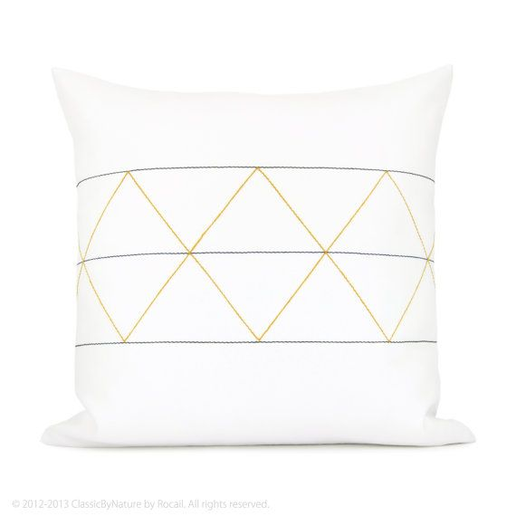 Geometric decorative pillow cover - Mustard yellow, navy blue, gray and white minimalist geometric pillow cover - 16x16 pillow case
