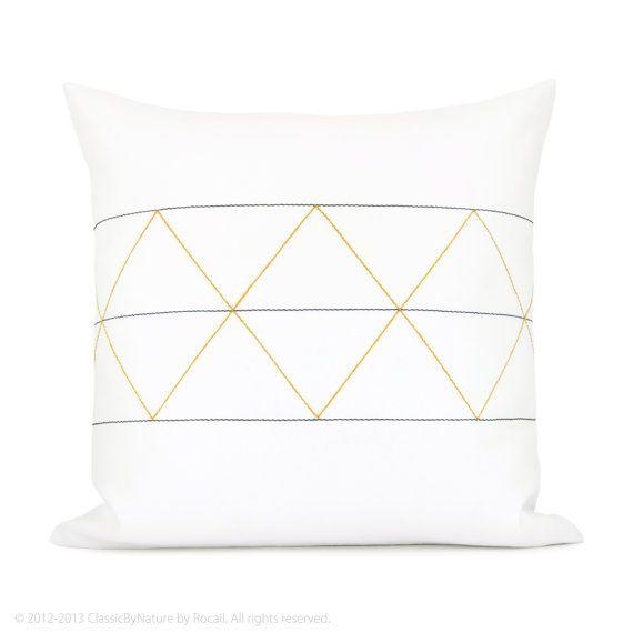 Geometrische dekorative Kissen Hülle - Senf gelb, dunkelblau, grau und weiß minimalistisch geometrische Kissenbezug - 16 x 16-Kissen