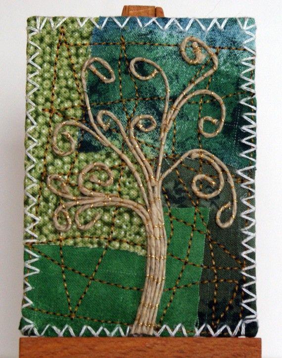 Original ACEO Fabric and Hemp Tree by martaharvey on Etsy, $18.00