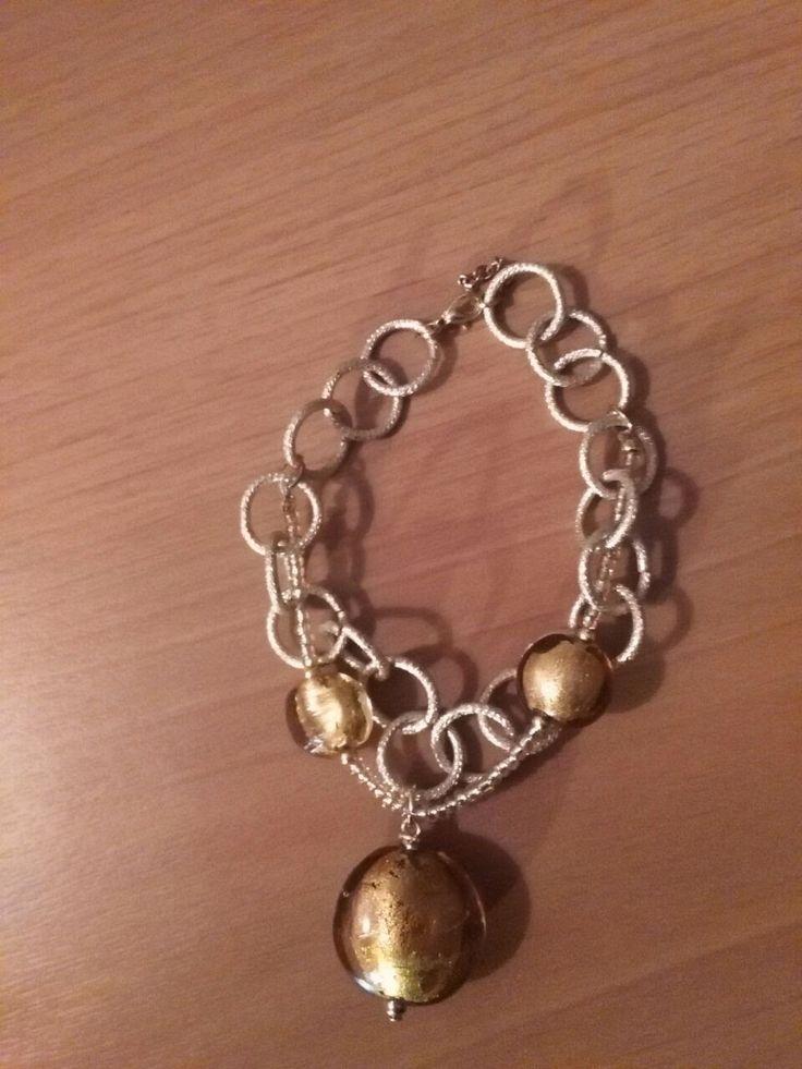 FantasyCreazioni: Bracciale con pendente oro in vetro di murano