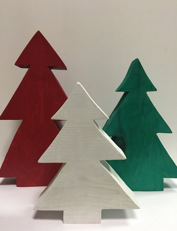 Wood Christmas trees tabletop Christmas tree por PeavyPieces