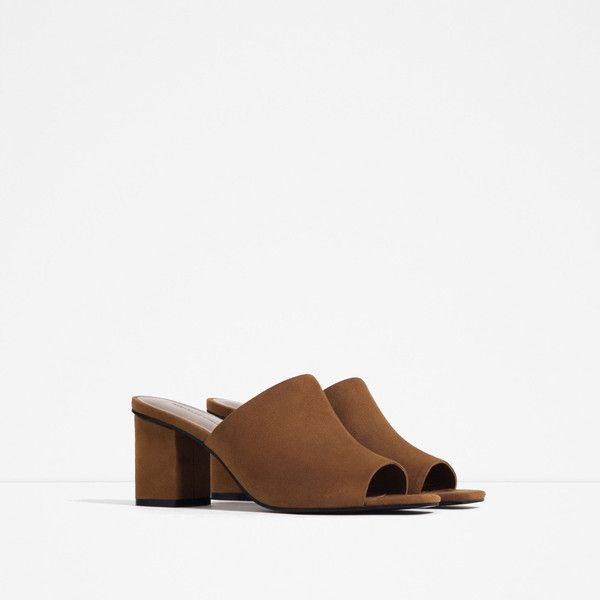 Zara Mule Sandals (£28) ❤ liked on Polyvore featuring shoes, sandals, mule shoes and mule sandals