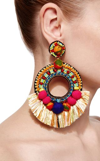 These festive **Ranjana Khan** earring are crafted in colorful fabrics in an open tear construction.