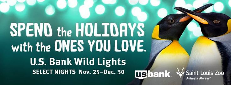 Stroll through the Saint Louis Zoo's enchanting holiday wonderland and enjoy 500,000 twinkling lights, illuminated animal displays, seasonal sounds and all kinds of festive fun. stlzoo.org/wildlights Select nights: Nov. 25 – Dec.30 *5:30 to 8:30 p.m. (Ticket sales end at 8:00 p.m.)