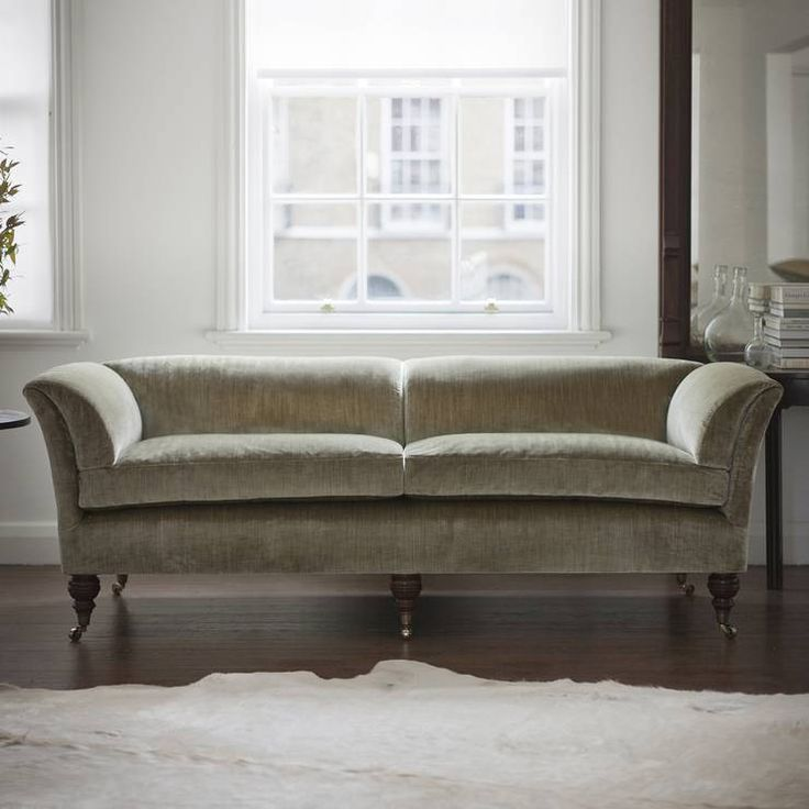 Pompadour Low Back Sofa in Como silk velvet - fern.  An unusual and very elegant classic design that can be equally at home in a contemporary or traditional setting.