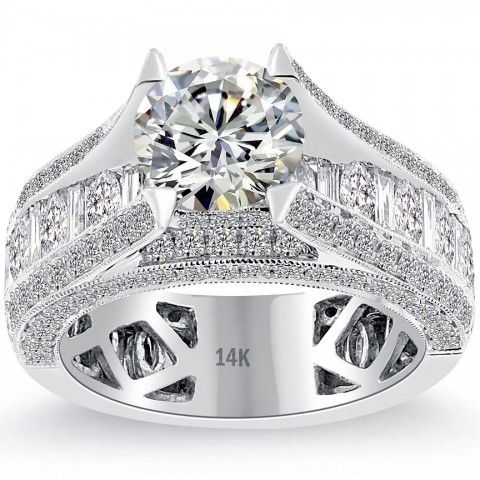 3.40 Carat H-VS1 Certified Natural Round Diamond Engagement Ring 14k White Gold - Liori Exclusive Engagement Rings - Engagement - Lioridiamonds.com: Diamond Engagement Rings, 14K White, Round Diamonds, Carat H Vs1, White Gold