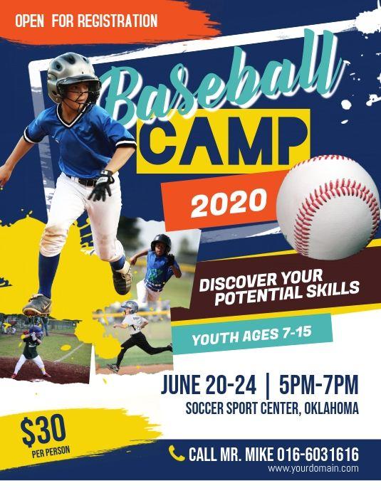 Baseball Camp Flyer Poster In 2020 Baseball Camp Baseball Posters Baseball