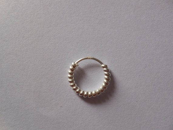 Sterling Silver nose ring for pierced nose-Very cute Indian nose Bali-Silver nose jewellry