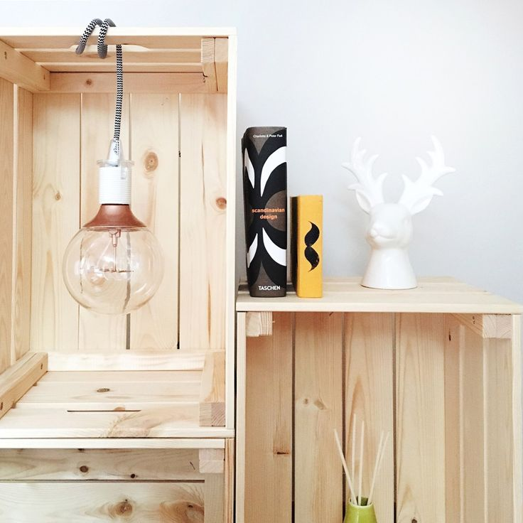 A fun little easy DIY project to make a custom storage solution with hanging light bulb using IKEA Knagglig, Nittio LED bulb & Second cord // ingridesignblog.com