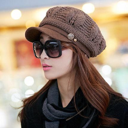 Fall and winter hat female Korean tidal winter Miss Mao Xianmao wool knit winter cap winter fashion Korean berets