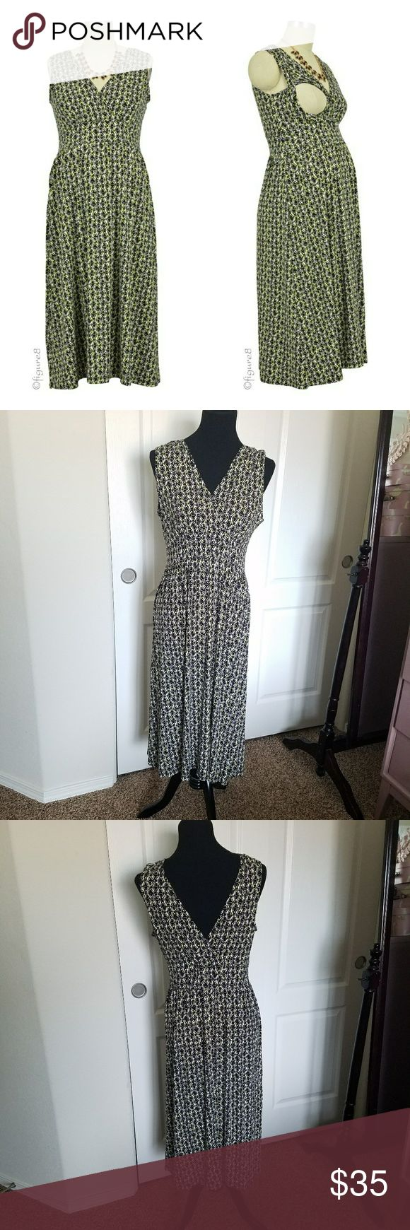 🤰Nursing/Maternity Dress Midi length dress with v-neck and back. Opens for nursing access. Lightweight and great for layering with a cardigan or tights. Black and white with a little purple and lime green in the pattern. EUC Annee Matthew Dresses