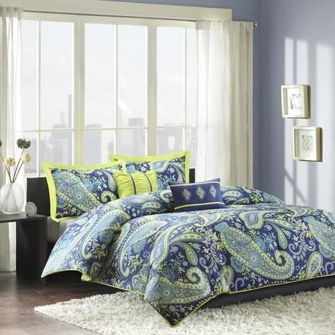 Blue White and Yellow Comforter Set in Paisley Print