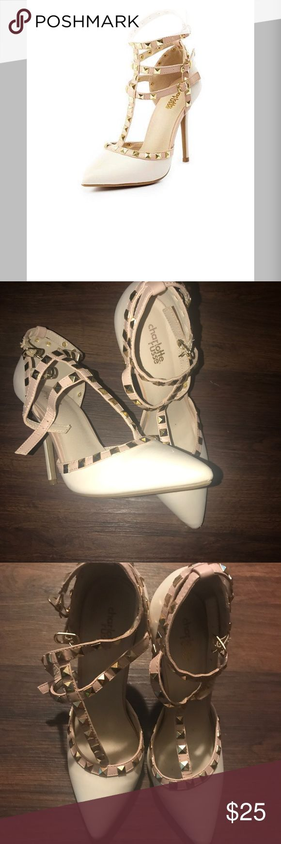 Studded Tee Strap Heels Charlotte Rousse Wild Diva Pumps in a taupe like color. There are some scuffs please view pics and ask questions if necessary. Charlotte Russe Shoes Heels