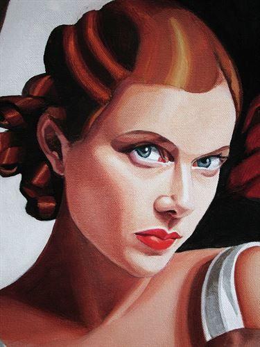 Timna Woollard - Annette Benning portrait in Tamara de Lempicka style for Film 'Being Julia (detail)