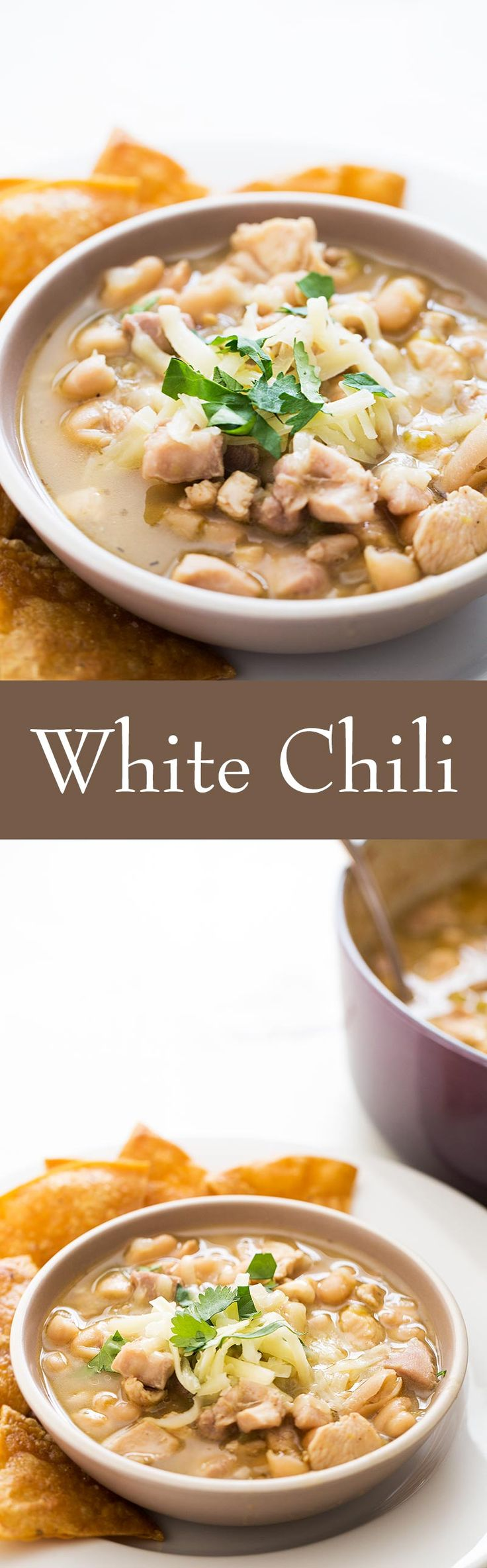 EASY white chili! With white beans, chicken, garlic, onions, green chiles, and Monterey jack cheese. Great for feeding a crowd on #GameDay #Superbowl On SimplyRecipes.com #glutenfree