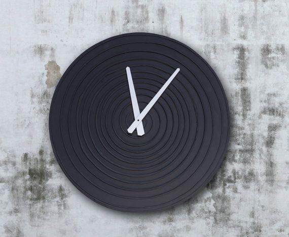 #mancave #homedecor #interiordesign #wallclock #black Large BLACK WALL CLOCK Unique Wall Clock Black Clock by PilipArt