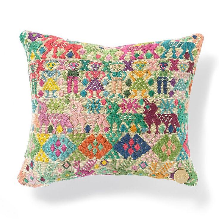 Handmade pillows, created from vintage Guatemalan huipil