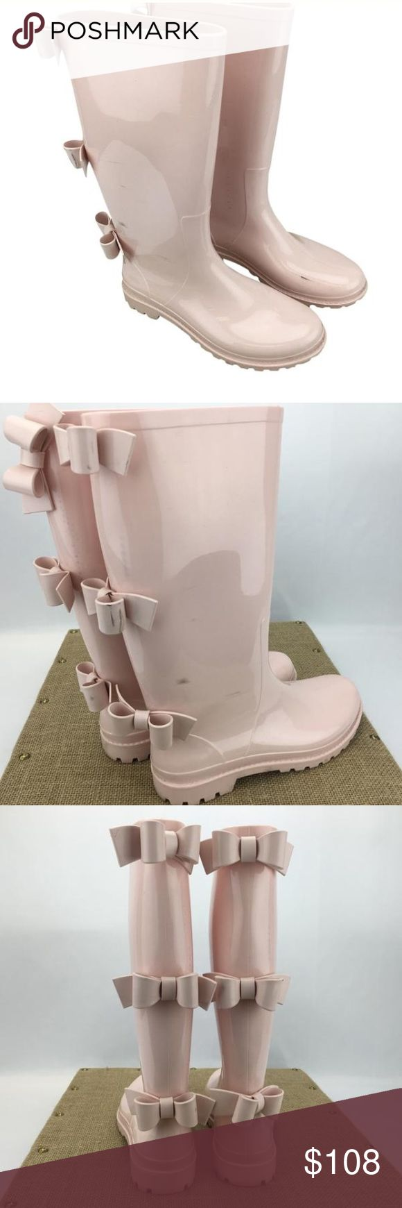 "RED Valentino Pink Round-Toe Rainboots RED Valentino Pink Round-Toe Rainboots With Three Bows in shiny PVC Rubber sole. Shaft height 13"". RED Valentino Shoes Winter & Rain Boots"