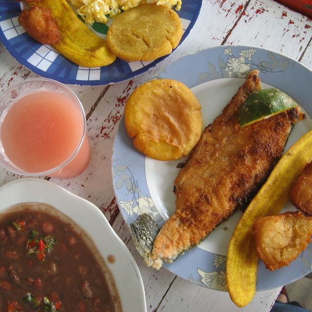 The signature dish of Salento, Quindio is trucha con patacones— trout with mashed, fried plantains.