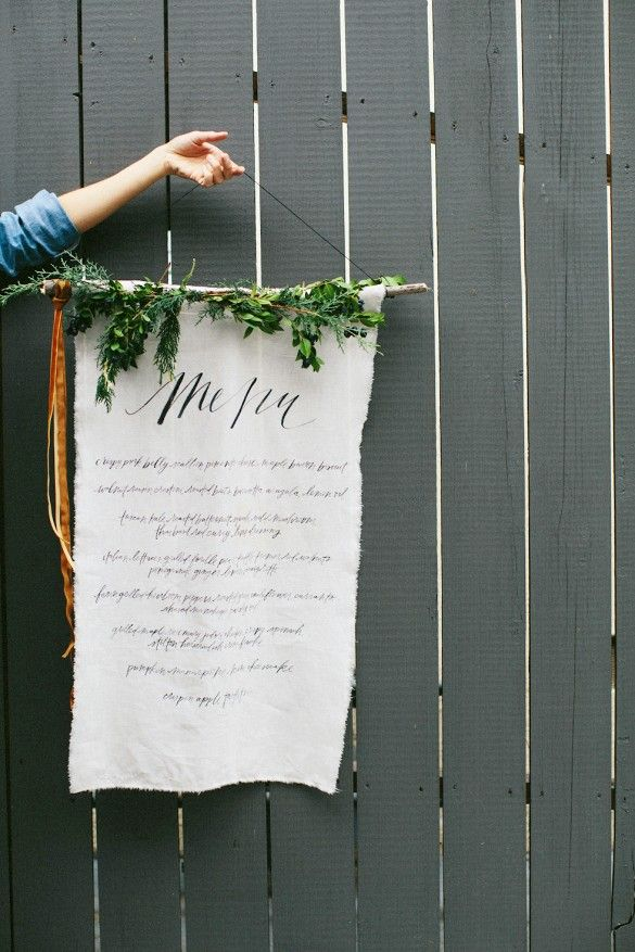 Linen menu design.
