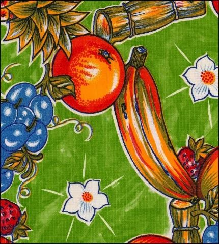 Round Oilcloth Tablecloth In Sugarcane